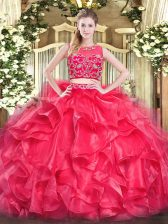 Red Scoop Neckline Beading and Ruffles Ball Gown Prom Dress Sleeveless Zipper