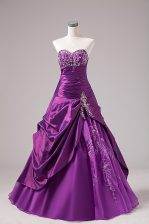 Sweetheart Sleeveless Lace Up Ball Gown Prom Dress Eggplant Purple Organza