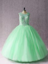 Scoop Sleeveless Lace Up Ball Gown Prom Dress Apple Green Tulle