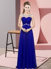 Custom Designed Blue Sleeveless Chiffon Backless Evening Dress for Prom and Party and Military Ball