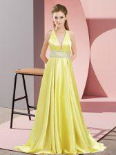 Yellow V-neck Backless Beading Prom Dress Brush Train Sleeveless