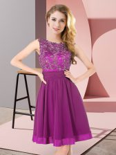 Best Selling Chiffon Sleeveless Mini Length Quinceanera Court of Honor Dress and Beading and Appliques