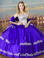 Custom Fit Sleeveless Floor Length Beading and Embroidery Lace Up Sweet 16 Quinceanera Dress with Blue