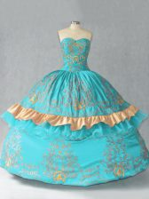 Hot Selling Aqua Blue Ball Gowns Embroidery and Bowknot Quinceanera Dress Lace Up Satin and Organza Sleeveless Floor Length