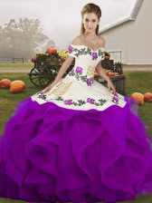 Adorable White And Purple Tulle Lace Up Off The Shoulder Sleeveless Floor Length Quinceanera Gowns Embroidery and Ruffles