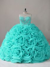 Ball Gowns 15 Quinceanera Dress Aqua Blue Sweetheart Fabric With Rolling Flowers Sleeveless Lace Up