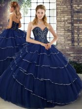 Customized Navy Blue Tulle Lace Up Quince Ball Gowns Sleeveless Brush Train Beading and Ruffled Layers