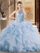 Blue Halter Top Neckline Beading and Ruffles Quinceanera Dresses Sleeveless Lace Up