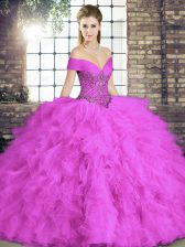 Floor Length Lilac Ball Gown Prom Dress Tulle Sleeveless Beading and Ruffles