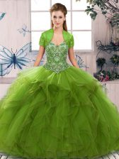 New Arrival Floor Length Lace Up Quince Ball Gowns Olive Green for Military Ball and Sweet 16 and Quinceanera with Beading and Ruffles