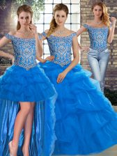 Blue Tulle Lace Up Off The Shoulder Sleeveless Sweet 16 Dress Brush Train Beading and Pick Ups