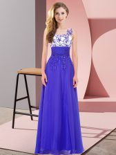 Scoop Sleeveless Chiffon Quinceanera Court of Honor Dress Appliques Backless