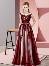 Floor Length Zipper Damas Dress Burgundy for Wedding Party with Beading and Lace