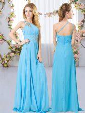 Sleeveless Floor Length Beading Zipper Quinceanera Court of Honor Dress with Aqua Blue