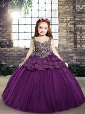 Sweet Eggplant Purple Off The Shoulder Lace Up Beading and Appliques Child Pageant Dress Sleeveless