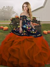 Floor Length Ball Gowns Sleeveless Rust Red 15th Birthday Dress Lace Up