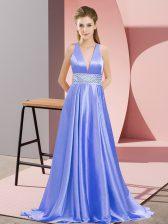 Glamorous Lavender Empire Beading Evening Dress Backless Elastic Woven Satin Sleeveless