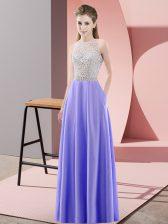 Lavender Sleeveless Floor Length Beading Backless Prom Party Dress