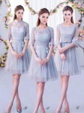 Discount Tulle Half Sleeves Mini Length Vestidos de Damas and Lace