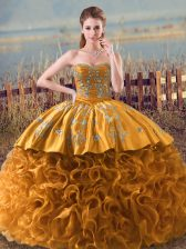 Dazzling Brown Sweetheart Lace Up Embroidery and Ruffles Quinceanera Gown Sleeveless