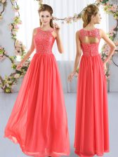 Sleeveless Floor Length Lace Zipper Dama Dress with Coral Red