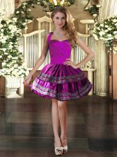 Fitting Fuchsia Sleeveless Embroidery Mini Length Prom Evening Gown