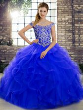 Royal Blue Tulle Lace Up Vestidos de Quinceanera Sleeveless Brush Train Beading and Ruffles