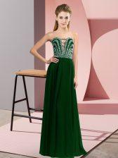 Decent Sweetheart Sleeveless Prom Dress Floor Length Beading Dark Green Chiffon