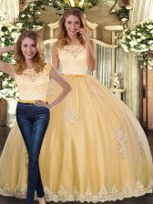 Glittering Gold Two Pieces Scoop Sleeveless Tulle Floor Length Clasp Handle Lace and Appliques Sweet 16 Dresses