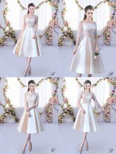 High Class Scoop Sleeveless Lace Up Quinceanera Dama Dress Champagne Satin