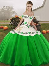 Green Sleeveless Floor Length Embroidery Lace Up Quinceanera Dresses
