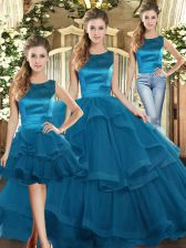 Teal Scoop Neckline Ruffles Sweet 16 Dress Sleeveless Lace Up