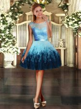 Adorable Mini Length Multi-color Tulle Sleeveless Lace and Ruffles