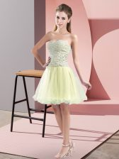 Mini Length Yellow Green Prom Dress Tulle Sleeveless Beading