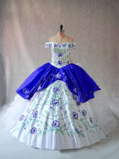 Lovely Floor Length Lace Up Quinceanera Dresses Blue And White for Sweet 16 and Quinceanera with Embroidery and Ruffles