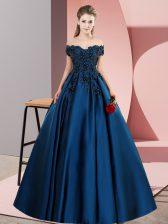 Fashion Navy Blue Zipper 15th Birthday Dress Lace Sleeveless Floor Length