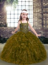 Straps Sleeveless Lace Up Little Girl Pageant Dress Olive Green Organza