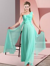 Floor Length Apple Green Damas Dress One Shoulder Sleeveless Lace Up