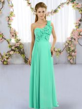 Graceful Sleeveless Lace Up Floor Length Hand Made Flower Dama Dress for Quinceanera