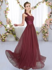 High End Burgundy Lace Up One Shoulder Ruching Vestidos de Damas Chiffon Sleeveless