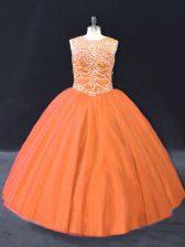 Orange Lace Up Sweet 16 Dress Beading Sleeveless Floor Length