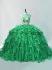 Popular Sleeveless Organza Brush Train Sweet 16 Dress in Green with Beading and Ruffles