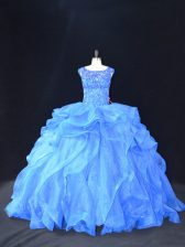 Blue Scoop Neckline Beading and Ruffles Quinceanera Dresses Sleeveless Lace Up