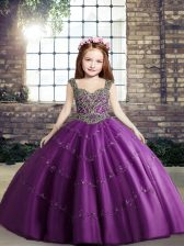 Purple Lace Up Straps Beading Kids Formal Wear Tulle Sleeveless