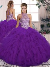 Purple Tulle Lace Up Sweet 16 Quinceanera Dress Sleeveless Floor Length Beading and Ruffles
