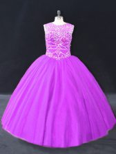 Attractive Sleeveless Floor Length Beading Lace Up Quinceanera Gowns with Purple