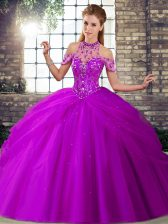 Custom Design Purple Ball Gowns Beading and Pick Ups Quinceanera Dresses Lace Up Tulle Sleeveless