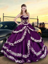 Purple Satin Lace Up Sweetheart Sleeveless Floor Length 15th Birthday Dress Embroidery and Ruffled Layers