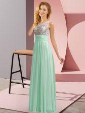 Scoop Sleeveless Chiffon Court Dresses for Sweet 16 Beading Side Zipper