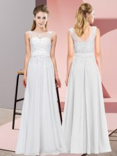 Smart Floor Length White Court Dresses for Sweet 16 Chiffon Sleeveless Beading and Appliques